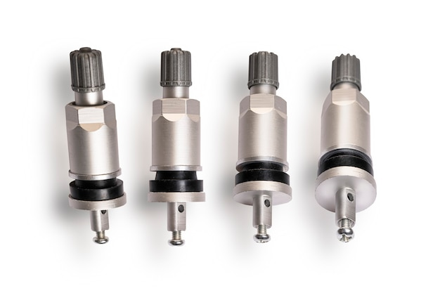 Valve sensor tmps for monitoring the tire pressure level, set of 4 pieces close - up on a white background.