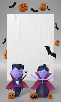 ハロウィーンのための吸血鬼のカップルの装飾