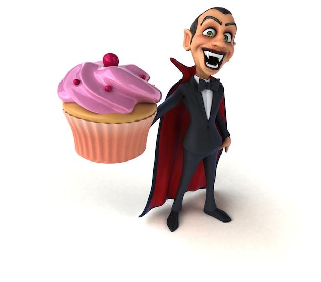 おいしいカップケーキを持っている吸血鬼