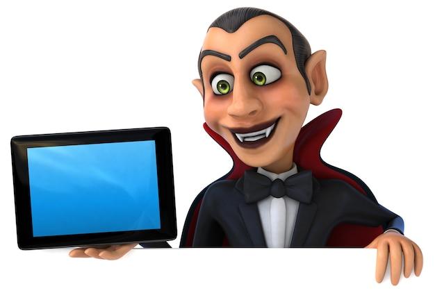 空の画面のタブレットを保持している吸血鬼