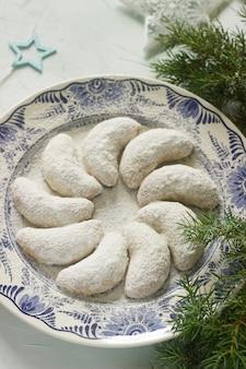 Vanilkipferl - vanilla crescents, traditional homemade cookies