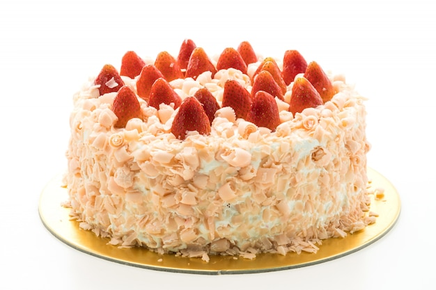 Vanilla cake dessert with strawberry on top