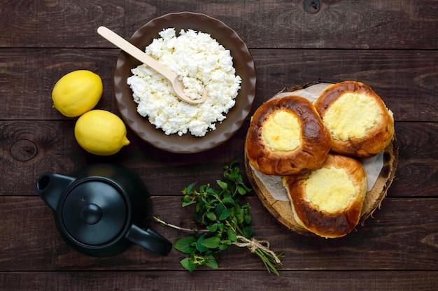 ダークウッドのバニラカッテージチーズパン(チーズケーキ)。上面図