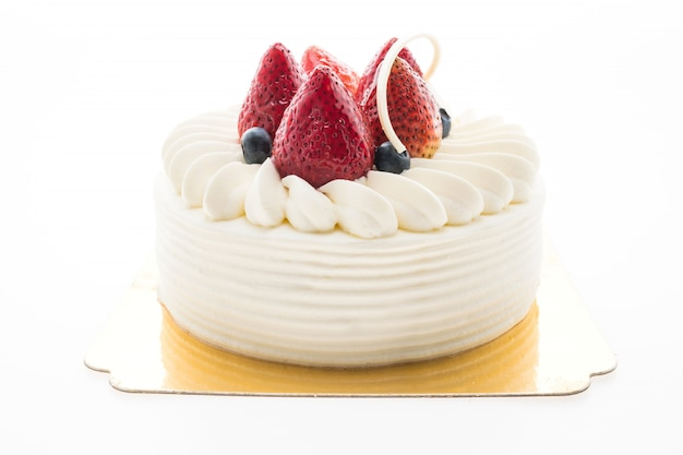 Vanilla cream cake with strawberry on top