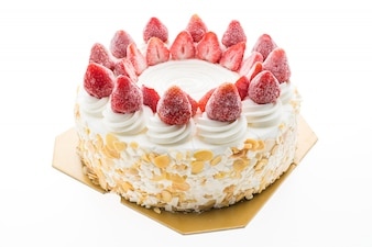 Vanilla ice cream cake with strawberry on top