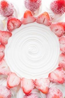 Vanilla ice cream cake with strawberry on top