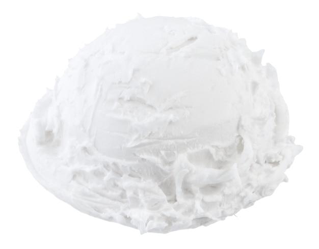 Вид сбоку ветроуловителей ванильного мороженого на белой предпосылке с путем клиппирования.