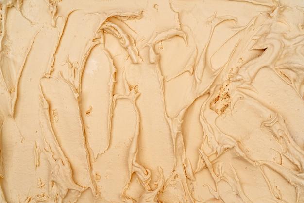 Vanilla ice cream texture. top view. delicious cool treat.