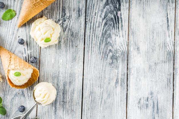 Vanilla ice cream with berries