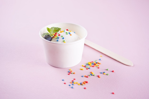 Vanilla ice cream with mint leaf and colorful candy on the pink background