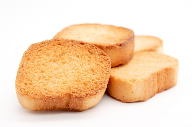 Vanilla little crackers on a white background