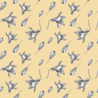 바닐라 향신료 꽃 그래픽 그림 손으로 그린 patern 배경