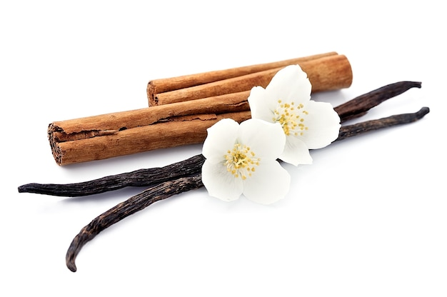 Vanilla sticks and cinnamon with flowers on white