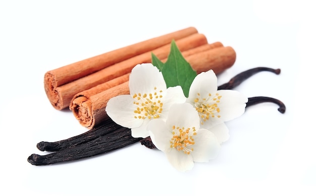 Vanilla sticks and cinnamon with flowerss.
