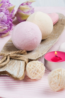 Vanilla and strawberry bath bombs