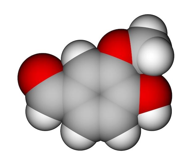 바닐린 공간 채우기 분자 모델