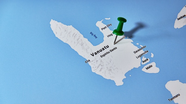 Vanuatu on a map showing a colored pin