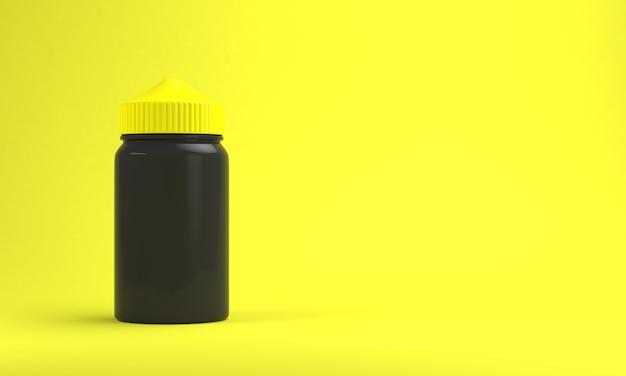 明るい黄色の背景に蒸気を吸う液体ボトル