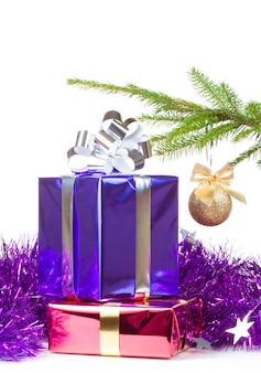 Varicolored boxes with christmas gifts