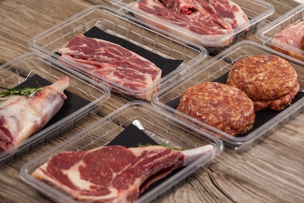 Разновидности мяса в пластиковых ящиках