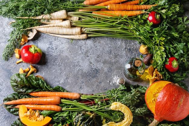 Variety of autumn harvest vegetables