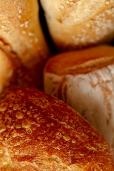 Variety of baked bread close-up