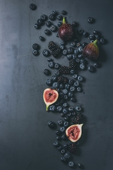 Variety of berries and figs