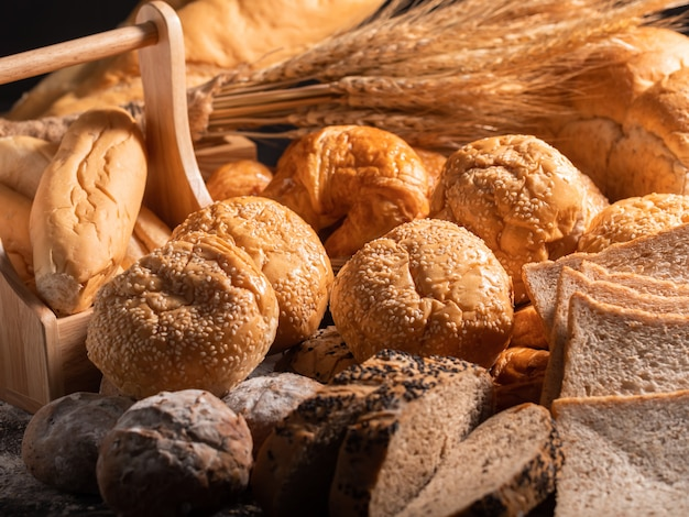 A variety of bread put together in a pile