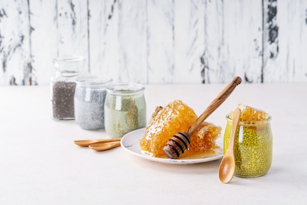 Variety of chia puddings