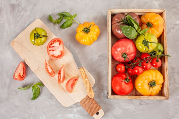 Variety of colorful organic tomatoes. healthy diet concept