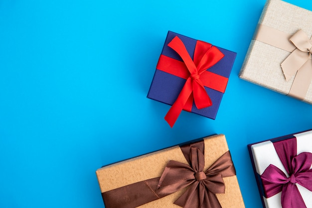 Variety of coloured gifts