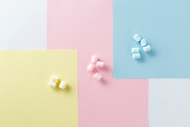 Variety of colours with marshmallows