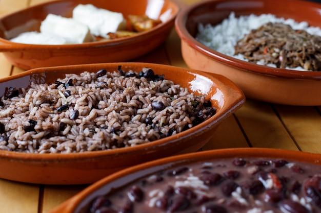 Variety of cuban food