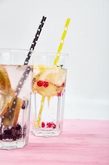 Variety of  detox infused water. diet. healthy drink.