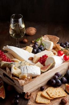 Variety of different cheese with wine, fruits and nuts. camembert, goat cheese, roquefort, gorgonzolla, gauda, parmesan, emmental, brie