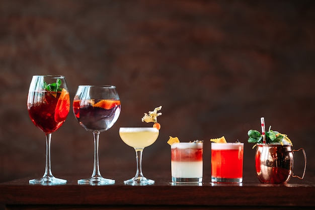 Variety of different sweet alcohol cocktails