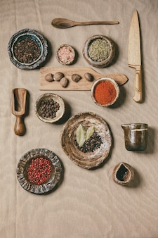 Variety of dishes and spices and kitchen tools