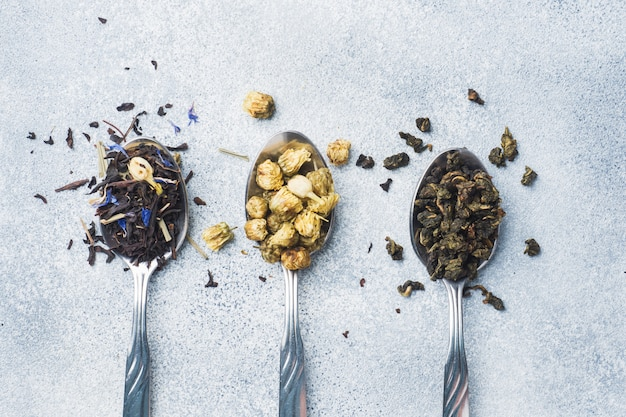 Variety of dry tea leaves and flowers in spoons on grey background