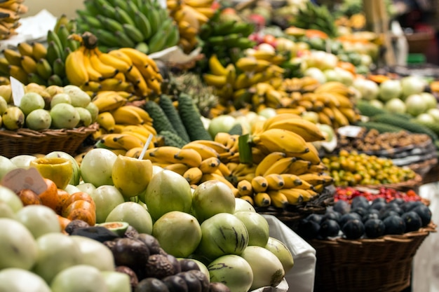 Variety of exotic fruit