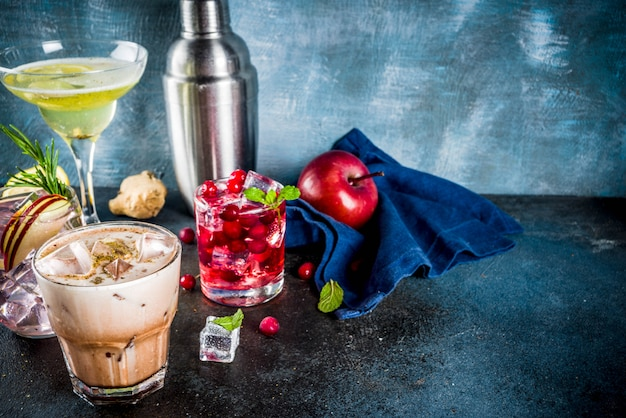 Variety fall winter cocktails