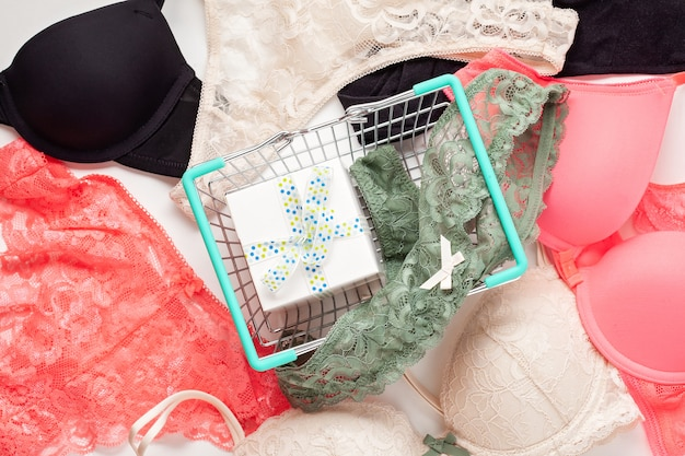 Variety of feminine lingerie. top view, flat lay. sales, shopping concept