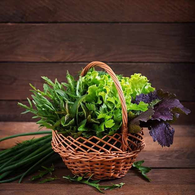 Variety fresh organic herbs (lettuce, arugula, dill, mint, red lettuce and onion) in rustic style.