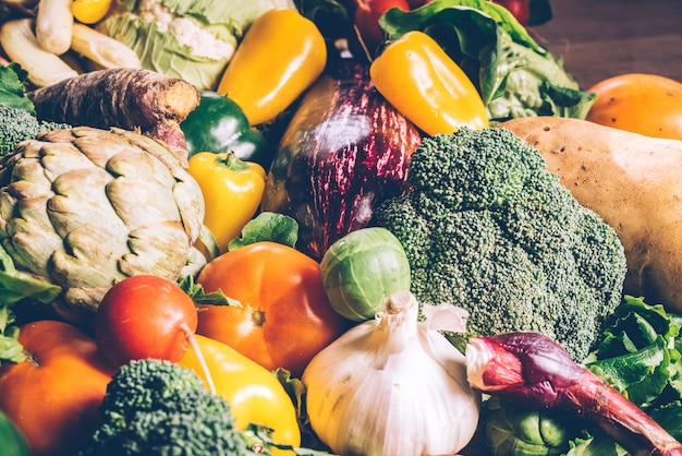 Variety of fresh vegetables to protect against cancer.