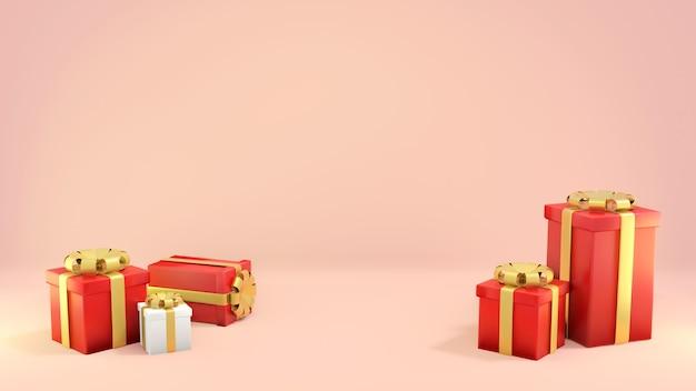 ピンクの背景にさまざまなギフトボックス、3dレンダリング、3dイラスト