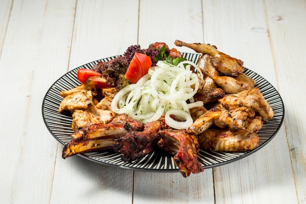 Variety of grilled meat marinated onion, shashlyk