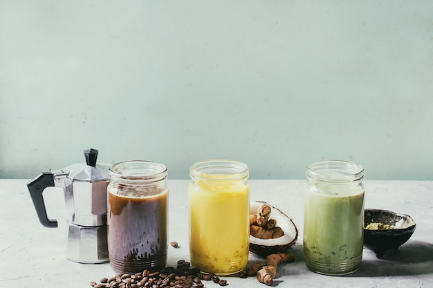 Variety of iced latte drinks.