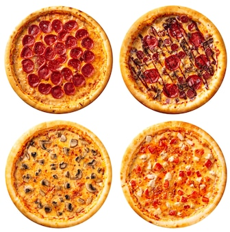 Variety of isolated pizzas menu collage disign