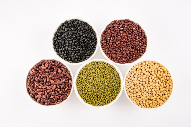 Variety of legumes on top view