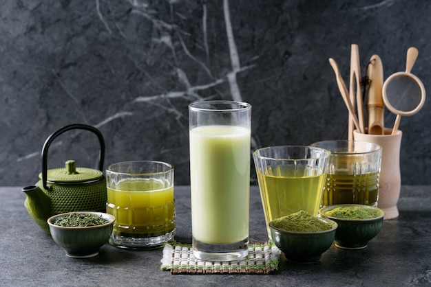 Variety of matcha tea