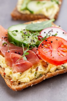 Variety of mini sandwiches with cream cheese, vegetables and salami. sandwiches with cucumber, radish, tomatoes, salami on a gray surface, top view. flat lay.